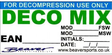 Beaver Sports - Scuba Divers Decompression Mix Cylinder Sticker